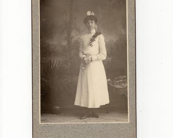 Possibly graduation, antique cabinet card photo