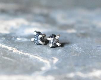 Raw Black Diamond Earrings, Rough Diamond Studs, 2 Carat Diamond Earrings, Uncommon Gemstone Jewelry for Wife, April Birthstone Gift, Silver