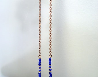 Earrings long chain with Pearl rock chic style, ethnic