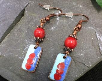 red blue enamel earrings  enamelled  copper dangle earrings  enamel dangle earrings red coral