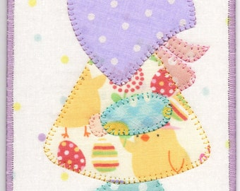 Easter Sue, A Sunbonnet  Sue Quilted Fabric Postcard