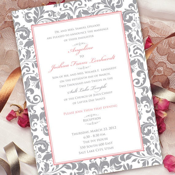wedding invitations, rose quartz wedding invitations, rose quartz bridal shower invitations, silver and rose quartz wedding invitations