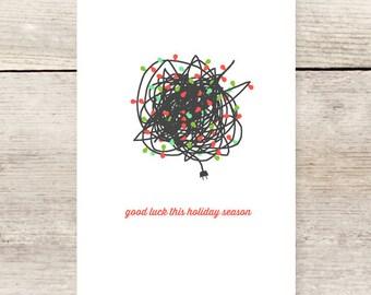 Christmas Lights Holiday Greeting Card, Humorous Holiday Card, Christmas Survival Card