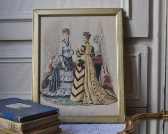 Antique photo Français, Lady Portrait d'époque victorienne, les femmes Français de mode robe, or cadre doré, 1860, Boudoir Decor Wall Art, Made in France