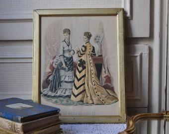 Antique photo Français, Lady Portrait d'époque victorienne, les femmes Français de mode robe, or cadre doré, 1860, Boudoir Decor Wall Art, Made in France