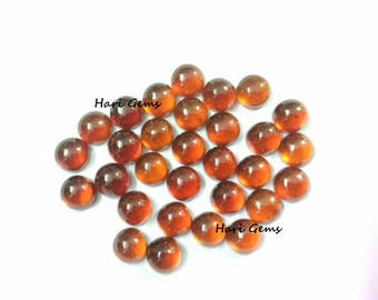 10 pieces 4mm hessonite garnet cabochon round gemstone - natural hessonite garnet round cabochon - flat back calibrated size gemstone