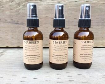 Sea Breeze Essential Oil Body Spray - Natural Perfume Spray - Essential Oil Perfume - Essential Oil Spray - Natural Body Spray