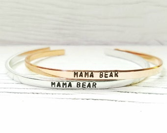 Mama Bear Bracelet, Mama Bear Cuff, Mom Bracelet, Hand Stamped Bracelet