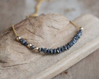Raw Diamond Necklace, Mothers Day, Birthday Gift for Wife, Black Diamond Necklace, Raw cut Diamond Jewelry, Rough Diamond, April Birthstone