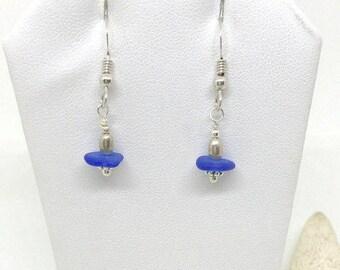 Sea Glass Earrings, RARE Cobalt Blue Glass Earrings, Sea Glass Jewelry, Seaglass, Sea Glass,  Beach Earrings, Gift Under 30