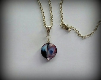 Simple cut crystal necklace, purple violet crystal, silver chain