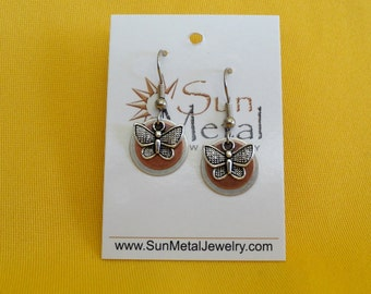 Butterflies are free to fly silver and copper earrings (Style #282C)