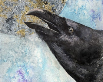 Original gilded watercolor painting of a raven