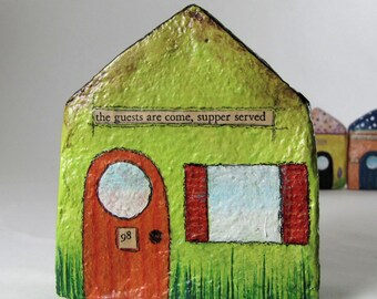 Art Sculpture Paper Mache Chubby Little House Number 98 - the guests are come, supper served