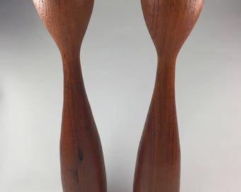 Vintage Danish Modern Teak Candle Holders