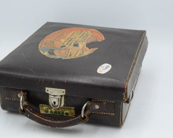 Leather Hard-Sided Velvet-Lined Camera Case With Cunard Line Cruise Luggage Sticker
