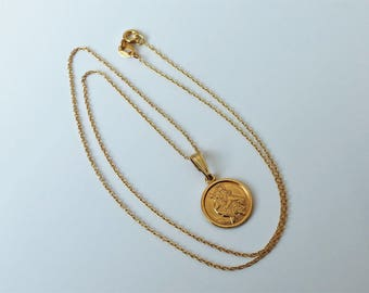 18ct Gold over Sterling Silver St Christopher Pendant Necklace.