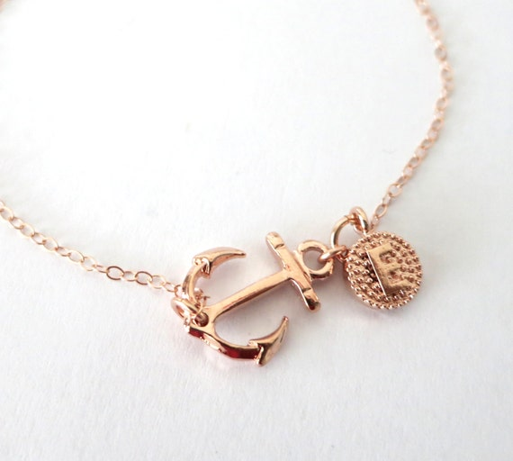Personalized Lucky Rose Gold Anchor bracelet - simple rose gold filled bracelet with Anchor, best friends, sisters, mum