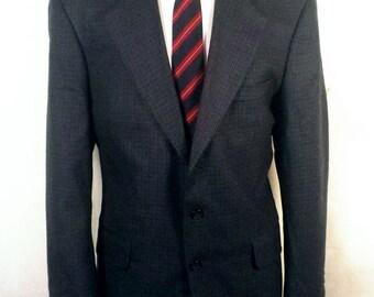 euc Oscar De La Renta blue/black Houndstooth 100% Wool Blazer Sportcoat 42 R