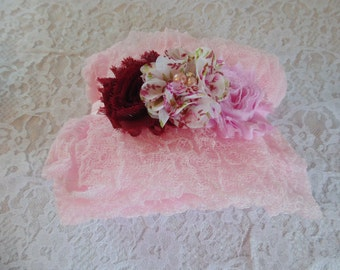 Twin  sets Baby Pink and Raspberry Cheesecloth 2 Headbands Photography Props