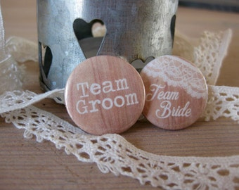 Team Bride Badges / Team Groom Badges / Wood and Lace / Rustic Wedding / Hen Party Gifts / Wedding Badges / Hen Party Badges / Wedding Favor
