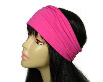 100% Cotton Jersey Head Wrap Pink Cotton Head Wrap Pink Cotton Headband Yoga Cotton Head Wrap Yoga Cotton Headband All Cotton Pink Headband
