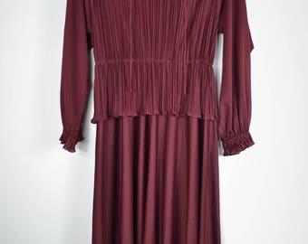Vintage Burgundy Ruffed Dress