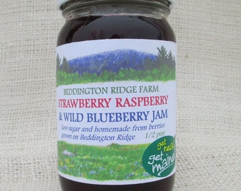 wild blueberry strawberry raspberry jam/wild blueberry jam/homemade strawberry jam/ homemade raspberry jam/low sugar jam/mixed berry jam/jam