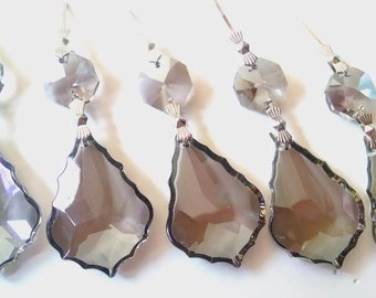 5 Asfour Satin Grey French Cut Chandelier Crystals Prisms Gray 38mm
