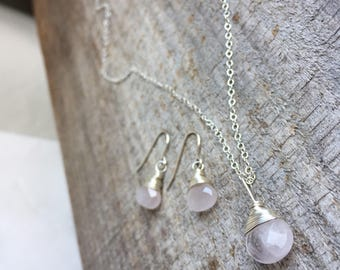 Rose Quartz|Sterling Silver Set|Bridesmaid Set|Dainty Necklace|Simple Drop Earrings|Soft Pink Necklace