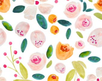 Holly Floral - Floral Swaddle, Changing Pad Cover, Boppy Cover, Crib Sheet, Minky Blanket, Baby Blanket, Muslin Swaddle