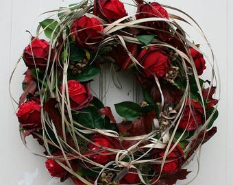 Wreath with red roses 50 cm