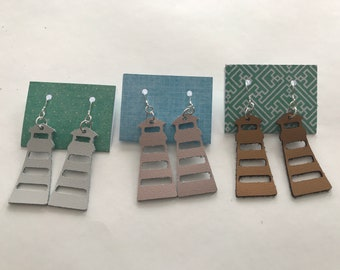 Stylish Leather Earrings - Sterling Silver - Lighthouse