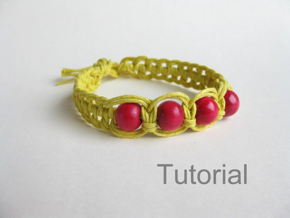 step by step knotted bracelet tutorial macrame pattern yellow. Black Bedroom Furniture Sets. Home Design Ideas