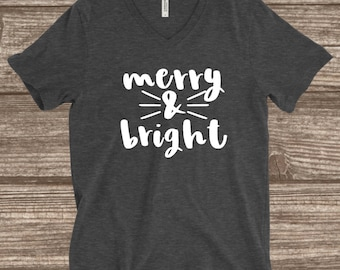 Merry & Bright Holiday T-Shirt - Women's Holiday Shirts - Cute Holiday Shirts - Christmas Shirts