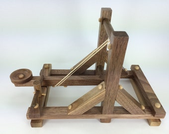 Wooden Toy Catapult - Handmade wood toy, solid walnut