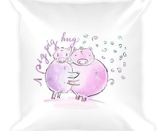 """Pig pig hug"""" Square Pillow"""