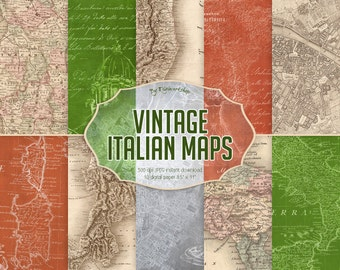"Vintage Maps Digital Paper ""Vintage Italian Maps""  digital antique maps, italian maps, vintage maps backgrounds, old maps, vintage paper"