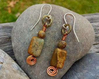 sterling silver earrings with natural brown picture jasper gemstones dangling upcycled vintage brass hammered copper swirls