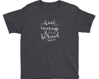 Disney Have Courage & Be Kind Women's Cinderella Youth Short Sleeve T-Shirt