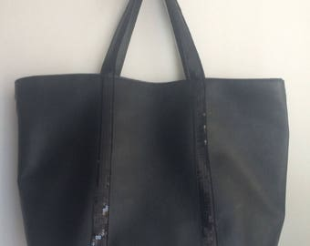 Black leather look handbag / Black shopper / sequins bag / Black large tote bag