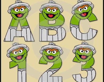 Oscar (Sesame Street) Alphabet Letters & Numbers Clip Art Graphics