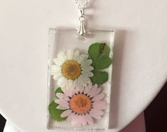 Pastel pink and white pressed flower necklace