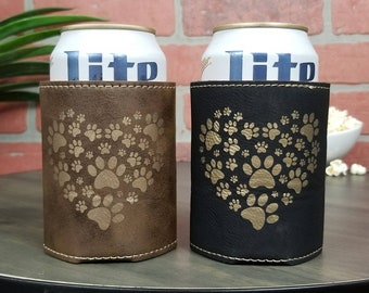 Paw Print Heart Leather Insulated Beverage Sleeve Cozie- Benefits Animal Rescue  Efforts