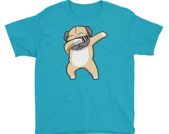 Dabbing Pug Shirt - Funny Cute Dog Dab Dance Youth Short Sleeve T-Shirt