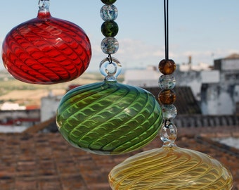 Hand Blown Sultans Turban Hanging Glass Balls/Suncatchers/Friendship Balls/Glass Talisman/Witchballs/Moroccan Style/Ethnic Chic/Hand Painted