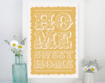 Home Sweet Home Print | New Home Gift | New House Gift | New Home Art | Housewarming Gift | Moving Gift | Living Room Print | New Home Print