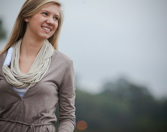 """Infinity Circle Scarf  - Beige Color - w/White Band - Approx. 28"""" - Back To School"""