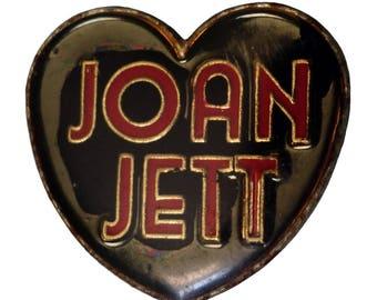 vintage JOAN JETT & The Blackhearts metal enamel pin button The Runaways