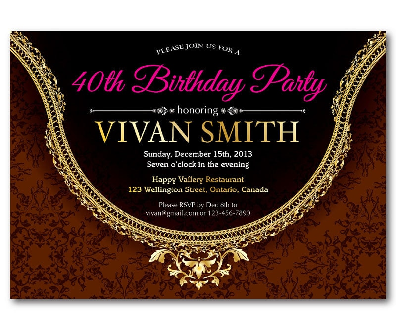 40th Birthday Invitations For Women Gallery - coloring pages adult